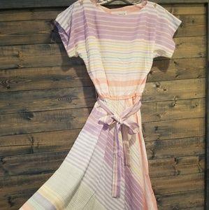 Vintage 80s Pastel Rainbow Dress